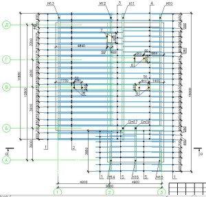 Проект коттеджа 55-12 - схема раскладки стропил