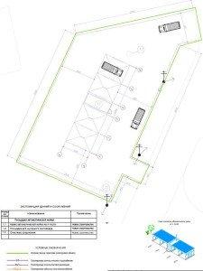 Проектирование бесконтактной автомойки - разбивочный план автомойки на 4 поста