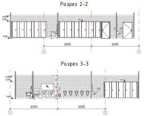 Проектирование реконструкции зоны санузлов - разрезы по помещениям